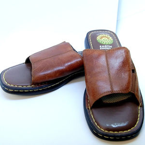 Earth Shoe Womens 8M Slide Sandals Brown Leather